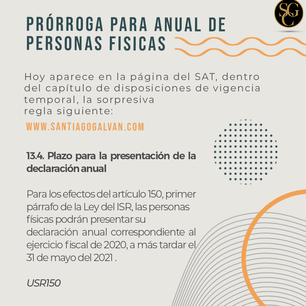 PRÓRROGA PARA ANUAL DE PERSONAS FÍSICAS